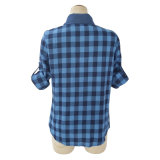 (L7019) -女性の小切手のワイシャツの偶然の長い袖のブラウス