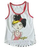 Gilet de fille de mode chez le T-shirt de fille des enfants avec les chaussures d'impression (SV-019)