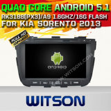 Carro DVD GPS do Android 5.1 de Witson para KIA Sorento 2013 com sustentação do Internet DVR da ROM WiFi 3G do chipset 1080P 16g (A5759)