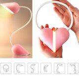 Lámpara de escritorio plegable Dimmable LED del corazón del USB de la luz recargable de la lectura