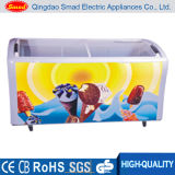 Janela de vidro com corrediça curvada Ice Cream Chest Freezer Showcase