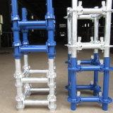 Componentes usados do andaime de Cuplock para a construção