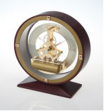 Horloge squelettique antique en laiton, horloge squelettique en bois antique de bureau