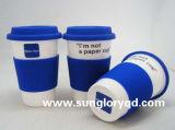 Caneca relativa à promoção da porcelana com caixa do silicone e tampa de Lkb022