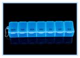 Cassa di plastica con le lettere di data, casella della pillola di 7 griglie di memoria trasparente di vendita calda