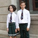 Uniforme scolaire blanc de chemise de longue chemise faite sur commande