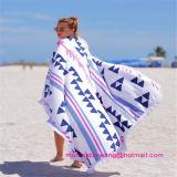 ふさのトリムが付いている100%年の綿の正方形の印刷されたビーチタオル
