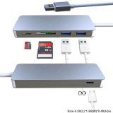 5 em 1 Tipo-c tipo cobrando Tipo-c cubo do USB de Microsd SD do conetor do leitor de cartão de C