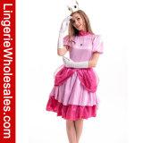 Nintendo Supermario Bros der Frauen. Partei-Kleid-Kostüm der Prinzessin-Peach Deluxe Halloween