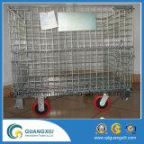 Recipiente de armazenamento rígido resistente dobrável de venda quente do escaninho do metal da gaiola do fio da caixa do engranzamento com rodízio