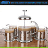 un Equipo de vidrio French Press café Vaso con empuñadura