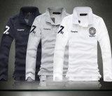 Camisa de polo de las fundas del algodón de calidad superior de la fábrica del bordado de los hombres largos de la corrección