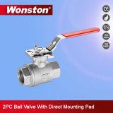 robinet à tournant sphérique 2PC avec le support de fixation direct d'OIN 1000wog (type M3)