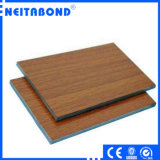 Panneau composé en plastique en aluminium d'enduit en bois de PVDF