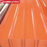 Azulejos de material para techos acanalados revestidos de las hojas de acero del color de PPGI