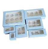 Rectángulo de papel para llevar de la magdalena/rectángulo impreso de la magdalena del papel de la cartulina con la pieza inserta y la ventana clara