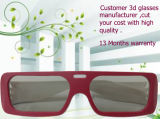 2016 Form Clear Lens Red Black Color Double ABS Frame Plastic Stylish Circular Polarized 3D Glasses für Polarized 3D Fernsehapparat oder Reald Cinema