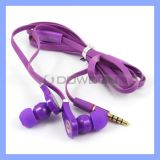 3.5mm Flat Cable Mic Earphone Stereo Headphone für Multimedia MP3 MP4 iPhone iPad
