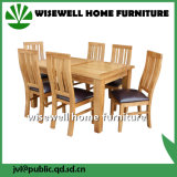 Solid Oak Leather Cafe Muebles con 6 Sillas (W-DF-0675)