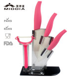 Kitchenware Set, Ceramic Knife Set com Peeler & Foldable Holder