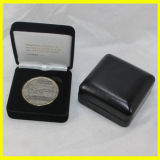 Коробка Leatherette черного квадрата бумажная для монеток