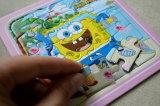 Bildschirm-Drucken-hölzerne Karikatur-Kind-Puzzlespiele