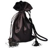 Sacs personnalisés Rose Satin Hair Weave extension pour emballage avec cordon de serrage et Assel