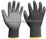 Le gant gris de sûreté de polyester avec l'unité centrale a enduit (PN8002)