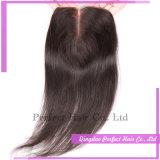 Chiusura centrale dei capelli della parte del merletto del merletto marrone chiaro della chiusura