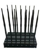 Blocchetto 3G, WiFi, 4glte, GSM, CDMA, emittente di disturbo per GSM800MHz+GSM900MHz+1800MHz+1900MHz+3G2100MHz+Gpsl1+Lojack, stampo dell'emittente di disturbo del telefono delle cellule di Lojack del segnale delle 14 antenne
