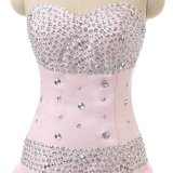 Blingのスパンコールの長いイブニング・ドレスの2017年の人魚のプロムの服のふくらんでいる最下のピンクのイブニング・ドレスの安いフォーマルドレス