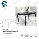 黒いガラス150*76*90cmを和らげることのヨーロッパCabriole様式のステンレス鋼のダイニングテーブル