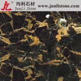 Tuile d'or noire de composé de marbre de fleur