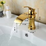 Le robinet de bassin de salle de bains de cascade à écriture ligne par ligne, choisissent le robinet de toilettes simple de récipient de trou de traitement, taraud de mélangeur de bassin