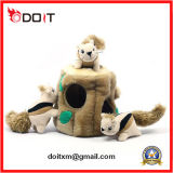 견면 벨벳 구멍 나무를 가진 채워진 다람쥐 장난감 고정되는 다람쥐 견면 벨벳 장난감