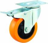 Chasse fixe industrielle à usage moyen d'unité centrale de couleur de 3/4/5 pouce d'unité centrale de roue rigide orange de chasse