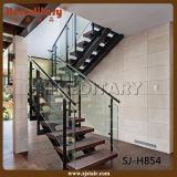Escadaria de madeira luxuosa do aço suave com os trilhos do cabo do aço inoxidável (SJ-H852)