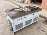 Máquina fritada de Rolls do gelado de bandeja dobro de Tailândia