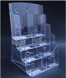 4 poches de la rangée 8 effacent le support en plastique de brochure pour la taille A6