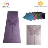 Laser repérant le couvre-tapis respectueux de l'environnement de yoga d'unité centrale, couvre-tapis en caoutchouc pourpré de yoga