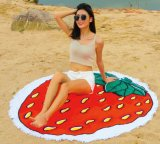 いちごのココナッツレモンデザインの円形のビーチタオル