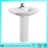 Lavabo sur pied en céramique de lavage de main de bassins populaires de salle de bains