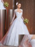 Do querido da faixa do laço do Applique vestido 2017 de casamento de cristal com envoltório adicional