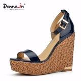 Zapatos de la cuña del corcho del laser del cequi de las mujeres de los altos talones del cuero de patente