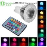 o ponto do diodo emissor de luz de 3W RGB ilumina E27 GU10