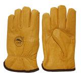Guantes calientes de Gardon del invierno de los guantes del programa piloto de mano de la seguridad del cuero de grano de la vaca con la guarnición completa