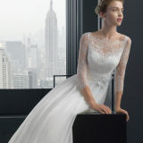 A-Line Lace Sleeves Plissado Button Wedding Dress with Flower