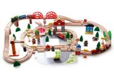 El tren de madera caliente del regalo 120PCS de Christams fijó para los cabritos y los niños