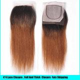 安いブラジルのバージンの直毛閉鎖のOmbreの閉鎖が付いているまっすぐなブラジルの毛の束が付いているOmbreの人間の毛髪4束の