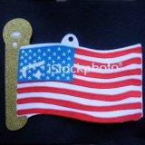Emblema tecido da bandeira do corte do laser da linha do ouro forma metálica